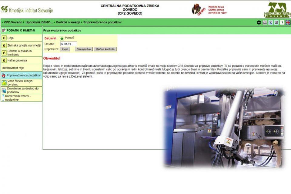Prenos podatkov vsebnosti sestavin mleka iz mlečnih kontrol v avtomatiziranih sistemih molže odslej možen tudi v programe za vodenje mlečne prireje na kmetijah