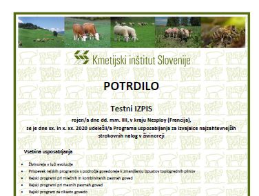 Usposabljanje izvajalcev strokovnih nalog v živinoreji
